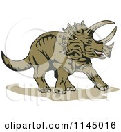 Clipart Of A Brown Triceratops Royalty Free Vector Illustration