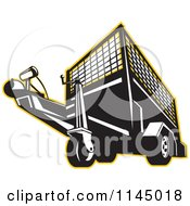Clipart Of A Retro Black And White Trailer Outlined In Yellow Royalty Free Vector Illustration