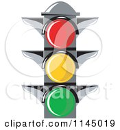 Clipart Of A Retro Traffic Light Royalty Free Vector Illustration