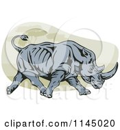 Clipart Of A Retro Charging Rhino Royalty Free Vector Illustration