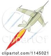 Clipart Of A Fighter Jet Royalty Free Vector Illustration