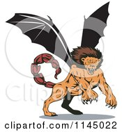 Clipart Of A Mythical Manticore Creature Attacking Royalty Free Vector Illustration