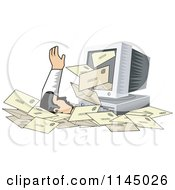 Clipart Of A Desktop Computer Spewing Out Email And Burying A Man In Spam Royalty Free Vector Illustration