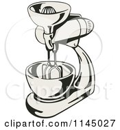 Clipart Of A Retro Kitchen Mixer Royalty Free Vector Illustration by patrimonio