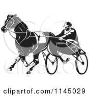 Clipart Of A Retro Black And White Trotter Harness Horse Racer Royalty Free Vector Illustration by patrimonio