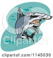 Clipart Of A Swimming Hammerhead Shark Royalty Free Vector Illustration