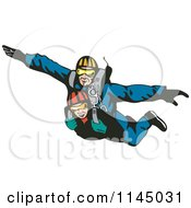 Clipart Of Tandem Skydivers Free Falling Royalty Free Vector Illustration