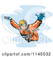 Clipart Of A Solo Skydiver Free Falling Royalty Free Vector Illustration by patrimonio