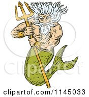 Clipart Of A Merman King Titan Holding A Trident Royalty Free Vector Illustration