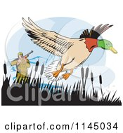 Clipart Of A Retro Hunter Aiming At A Mallard Royalty Free Vector Illustration