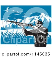 Clipart Of A Retro Hunter Holding A Rifle And Aiming At Geese In The Mountains Royalty Free Vector Illustration by patrimonio