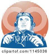 Clipart Of A Retro WW2 Pilot In The Cockpit Over Halftone Royalty Free Vector Illustration