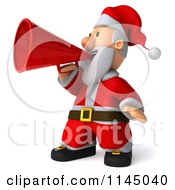 Clipart Of A 3d Christmas Santa Announcing With A Megaphone Royalty Free CGI Illustration