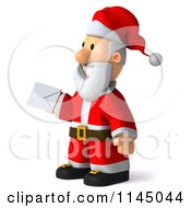 Clipart Of A 3d Christmas Santa Holding An Envelope Royalty Free CGI Illustration