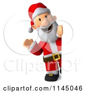 Clipart Of A 3d Christmas Santa With A Sign 1 Royalty Free CGI Illustration