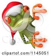 Clipart Of A 3d Green Christmas Frog Wearing A Santa Hat And Looking Around A Sign Royalty Free CGI Illustration