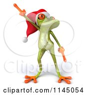 Clipart Of A 3d Green Christmas Frog Wearing A Santa Hat And Dancing 1 Royalty Free CGI Illustration