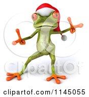 Clipart Of A 3d Green Christmas Frog Wearing A Santa Hat And Dancing 2 Royalty Free CGI Illustration