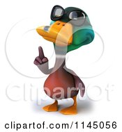 Clipart Of A 3d Cool Mallard Drake Duck Wearing Sunglasses And Pointing Up Royalty Free CGI Illustration