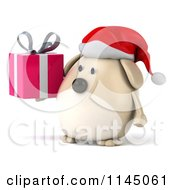 Clipart Of A 3d Chubby White Christmas Dog With A Gift Royalty Free CGI Illustration