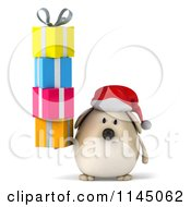 Clipart Of A 3d Chubby White Christmas Dog With Gifts Royalty Free CGI Illustration