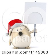 Clipart Of A 3d Chubby White Christmas Dog With A Sign 3 Royalty Free CGI Illustration