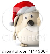 Clipart Of A 3d Chubby White Christmas Dog With A Sign 2 Royalty Free CGI Illustration