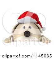 Clipart Of A 3d Chubby White Christmas Dog With A Sign 1 Royalty Free CGI Illustration