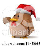 Clipart Of A 3d Brown Christmas Chicken Wearing A Santa Hat And Pointing Left Royalty Free CGI Illustration
