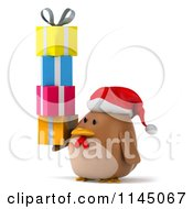 Clipart Of A 3d Brown Christmas Chicken Wearing A Santa Hat And Holding Gifts Royalty Free CGI Illustration