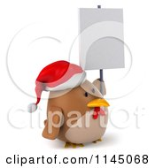 Clipart Of A 3d Brown Christmas Chicken Wearing A Santa Hat And Holding A Sign Royalty Free CGI Illustration