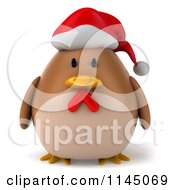 Clipart Of A 3d Brown Christmas Chicken Wearing A Santa Hat Royalty Free CGI Illustration