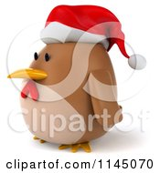 Clipart Of A 3d Brown Christmas Chicken Wearing A Santa Hat And Facing Left Royalty Free CGI Illustration