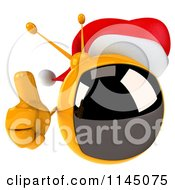 Clipart Of A 3d Retro Christmas Tv Wearing A Santa Hat And Holding A Thumb Up Royalty Free CGI Illustration