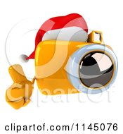 Clipart Of A 3d Christmas Camera Mascot Wearing A Santa Hat And Holding A Thumb Up Royalty Free CGI Illustration