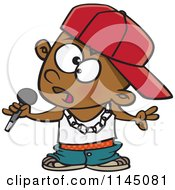 Cartoon Of A Black Boy Rapper Musician Holding A Microphone Royalty Free Vector Clipart