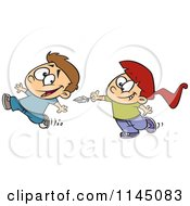 Cartoon Of A Girl Chasing A Boy To Tickle Him With A Feather Royalty Free Vector Clipart