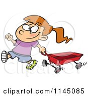 Cartoon Of A Happy Girl Pulling A Red Wagon Royalty Free Vector Clipart by toonaday