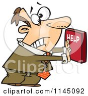 Cartoon Of A Frantic Businessman Pushing A Help Button Royalty Free Vector Clipart