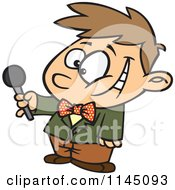 Cartoon Of An Interviewing Boy Holding Out A Microphone Royalty Free Vector Clipart