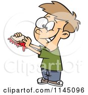 Cartoon Of A Happy Boy With A Messy Jam Sandwich Royalty Free Vector Clipart