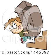 Cartoon Of A Mover Boy Carrying A Couch Up Stairs Royalty Free Vector Clipart by toonaday