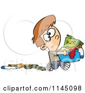 Cartoon Of A Boy Dropping Clothes And Carrying A Laundry Basket With Detergent Royalty Free Vector Clipart