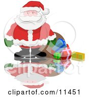 Santa Spilling Gifts Out Of His Sack Clipart Illustration