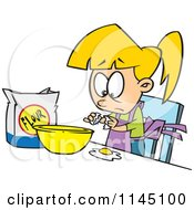 Cartoon Of A Blond Girl Making Dough Royalty Free Vector Clipart by toonaday