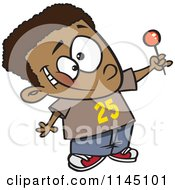 Cartoon Of A Happy Black Boy Holding Up A Lollipop Royalty Free Vector Clipart by toonaday