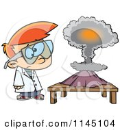 Cartoon Of A Scientist Boy With A Mushroom Cloud Project Royalty Free Vector Clipart by toonaday