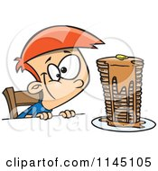Cartoon Of A Hungy Boy Gazing At A Stack Of Pancakes Dripping With Syrup Royalty Free Vector Clipart