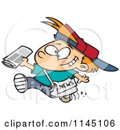 Cartoon Of A Happy Paperboy Holding A Newspaper Royalty Free Vector Clipart
