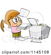 Cartoon Of A Little Girl Trying To Use A Copier Machine Royalty Free Vector Clipart